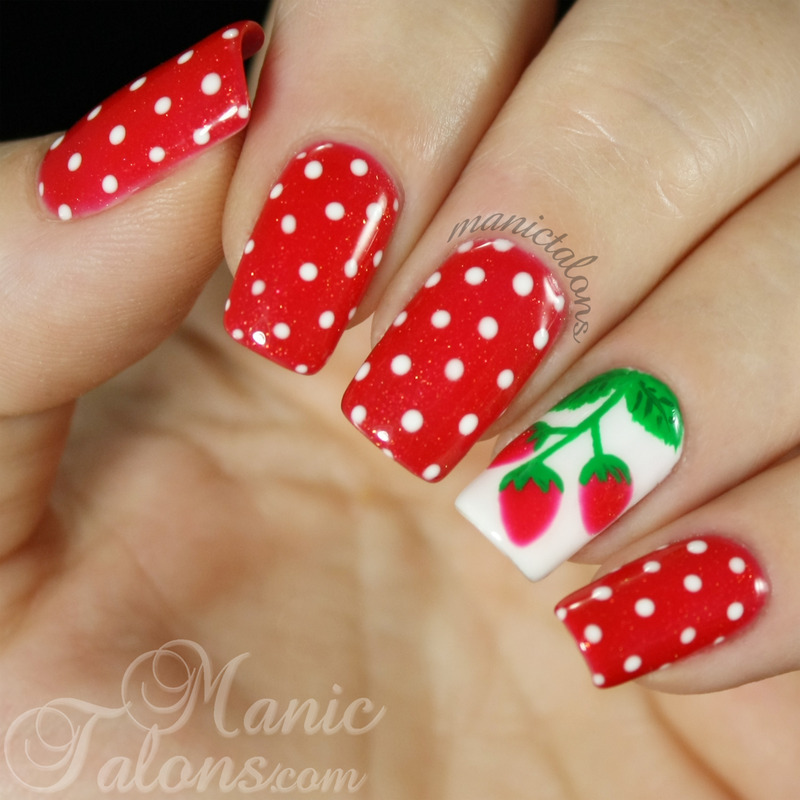 Sweet Summer Strawberries nail art by ManicTalons