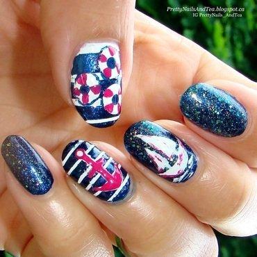 Nautical Mani nail art by PrettyNailsAndTea