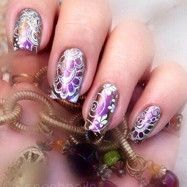 Multichrome with White Stamping nail art by Debbie
