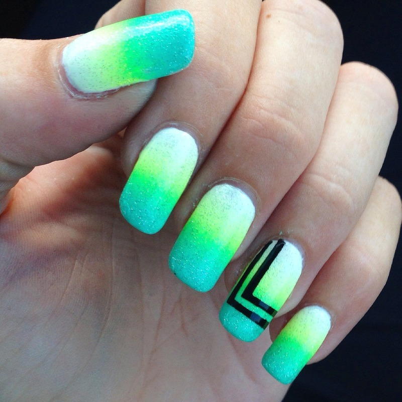 Neon gradient with Black stripes nail art by Henulle