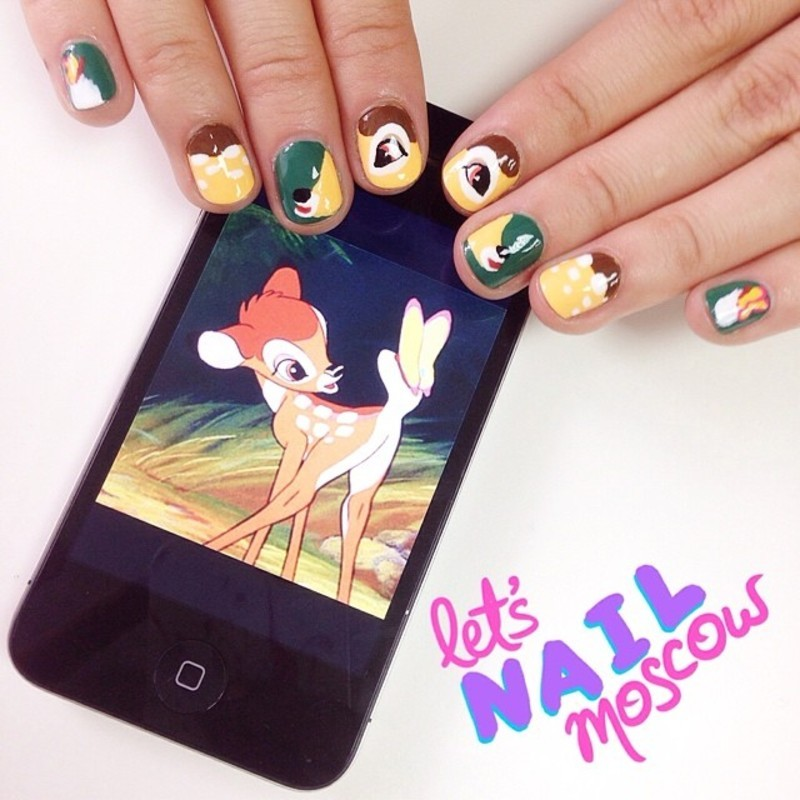 Bambi nails! ;) nail art by Let's Nail Moscow