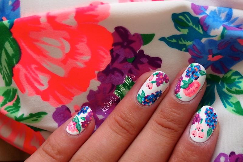 Bikini-Inspired Floral Nail Art nail art by Kelsie