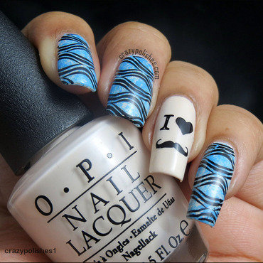 Mustache Mani nail art by CrazyPolishes (Dimpal)