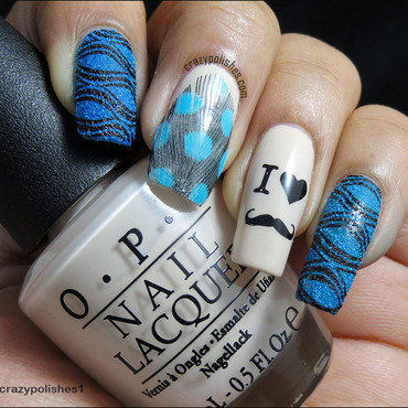 Moustache Mani- Look 2 nail art by CrazyPolishes (Dimpal)