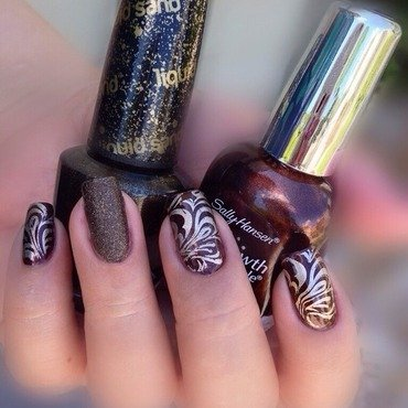 Forbidden Fudge with Golden Swirls nail art by Debbie