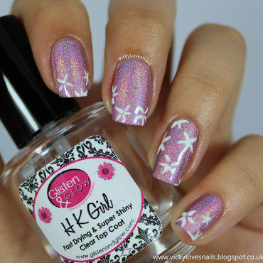 Pretty Pink Holo with Flowers nail art by Vicky Standage