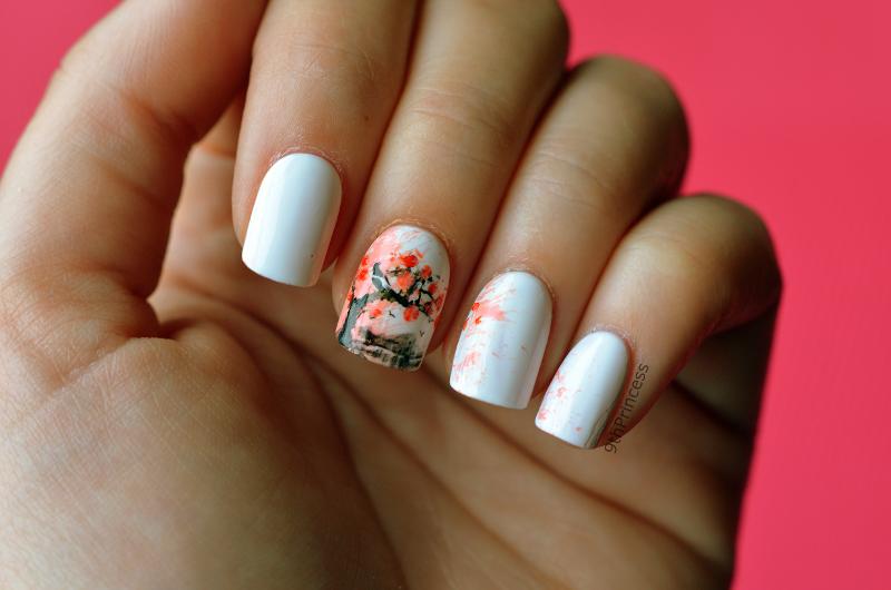 Sakura nail art by 9th Princess