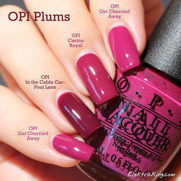 OPI Casino Royale, OPI Get Cherried Away, and OPI In the Cable Car-Pool Lane Swatch by Elektra King