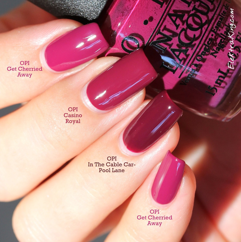 Opi Casino Royale Opi Get Cherried Away And Opi In The Cable Car Pool Lane Swatch By Elektra