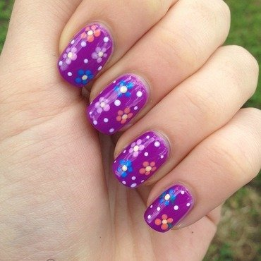 Easy colorful flowers nail art by Sara T