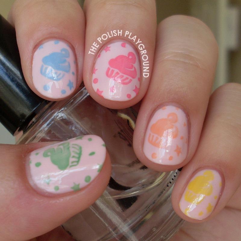 Colorful Cupcake Stamping nail art by Lisa N
