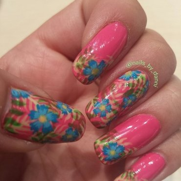 tropical floral nail art by Danielle  Hails
