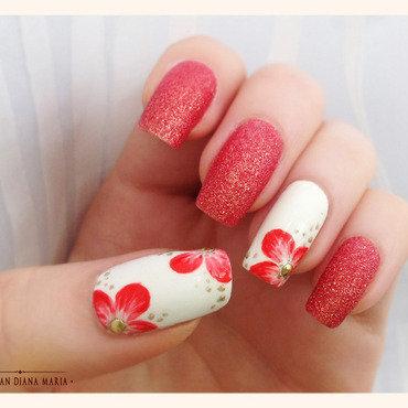 Happy flowers manicure nail art by Bazavan Diana