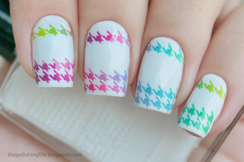 Neon houndstooth gradient nail art by Alena Belozerova