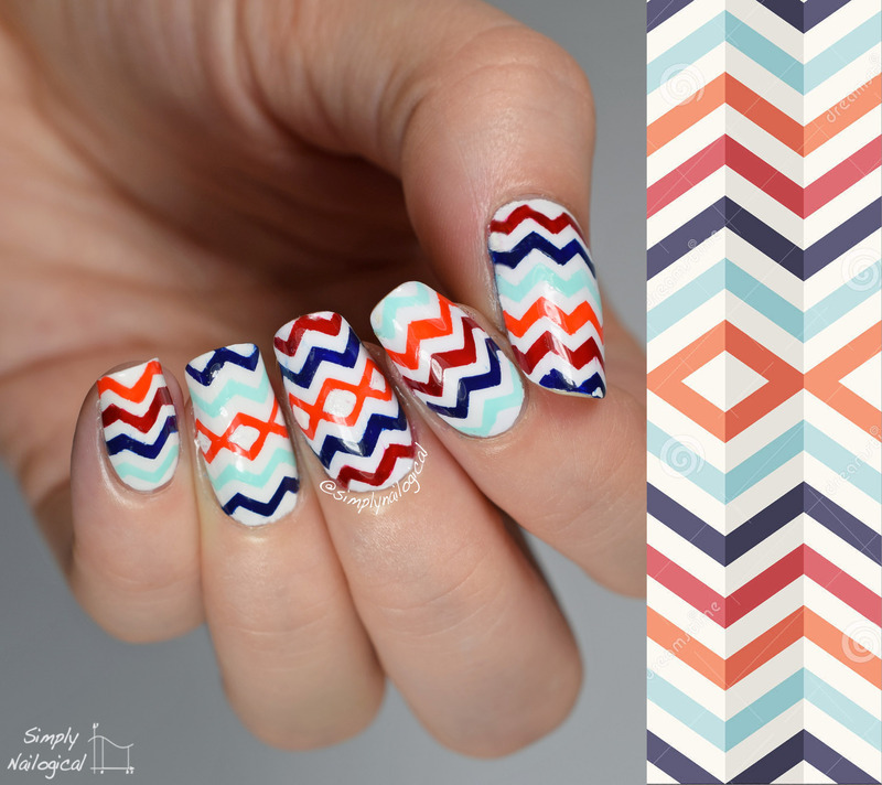 Multi-coloured skinny chevrons inspired by a geometric print nail art by simplynailogical