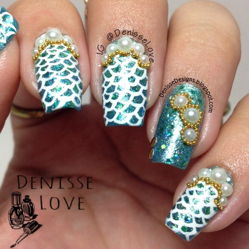 Mermaid Nails nail art by Denisse Love