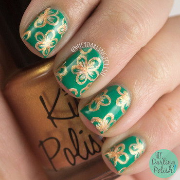 Green bronze floral teacup print nail art 4 thumb370f