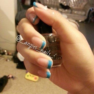 Turquoise French nail art by ANGELA MIRANDA