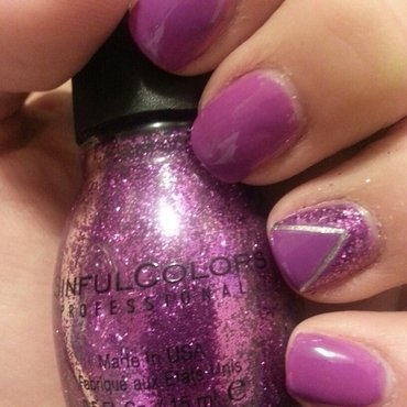 Purple Glitter Party nail art by ANGELA MIRANDA