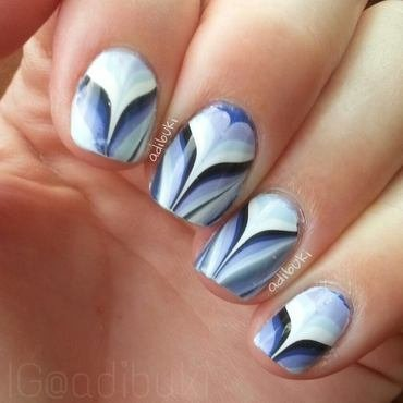Blue Cleavage nail art by Adi Buki