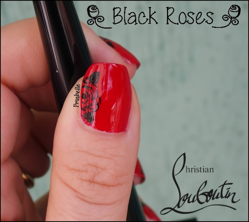 black roses nail art by Pmabelle