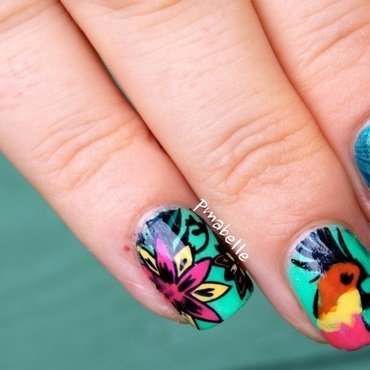 tropical reverse nail art by Pmabelle