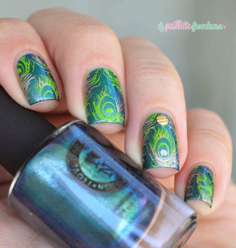 peacock nails nail art by nathalie lapaillettefrondeuse