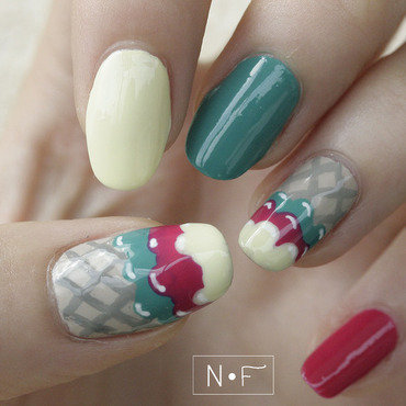 ice cream nails nail art by NerdyFleurty