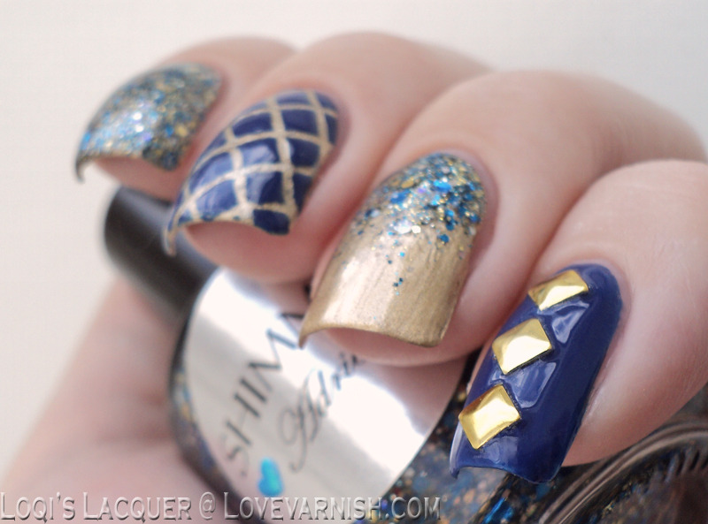 Gold and blue skittlette nail art by Loqi