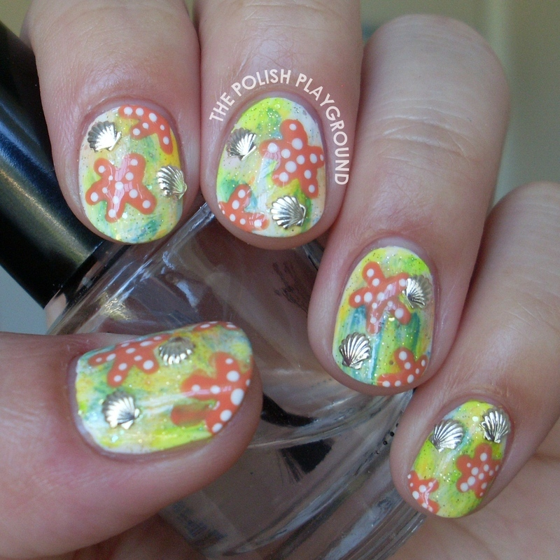 Underwater Beach Adventure nail art by Lisa N