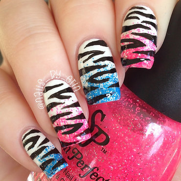 70's Inspired Zebra Print Nails nail art by Erin