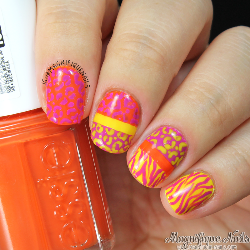 Neon Animal Print Nails nail art by Ana