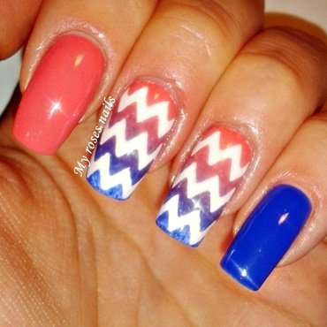 Coral and cobalt chevron gradient nail art by Ewa