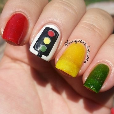 Beautiful Disaster - Stoplight Party trio nail art by Jennifer Collins