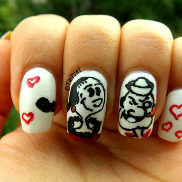 Olive Oyl and Popeye nail art by Teo