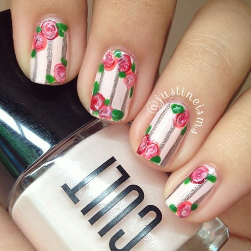 Romantic Floral nail art by ℐustine