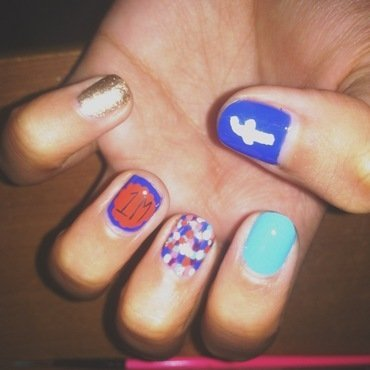 Facebook Official nail art by Michelle Pacheco