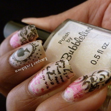 Romantic Love Letter nail art by Tamira (Lacquer Lockdown)