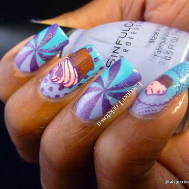 Cupcakes and Swirls nail art by Tamira (Lacquer Lockdown)