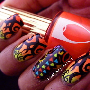 Neon Tribal nail art by Tamira (Lacquer Lockdown)