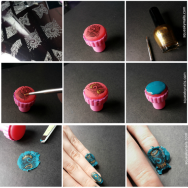 Tutorial - Stamping Decals  nail art by Squeaky  Nails