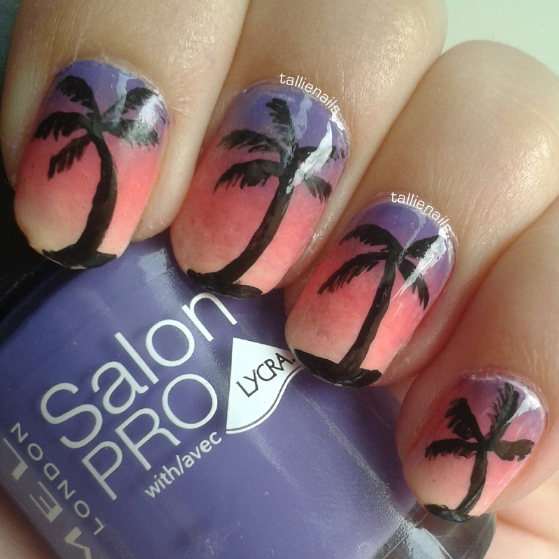 Palm trees against a sunset nail art by Tallie