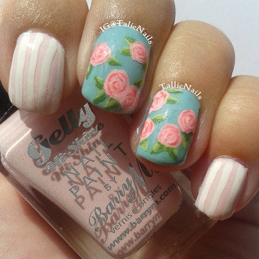 Vintage Roses nail art by Tallie