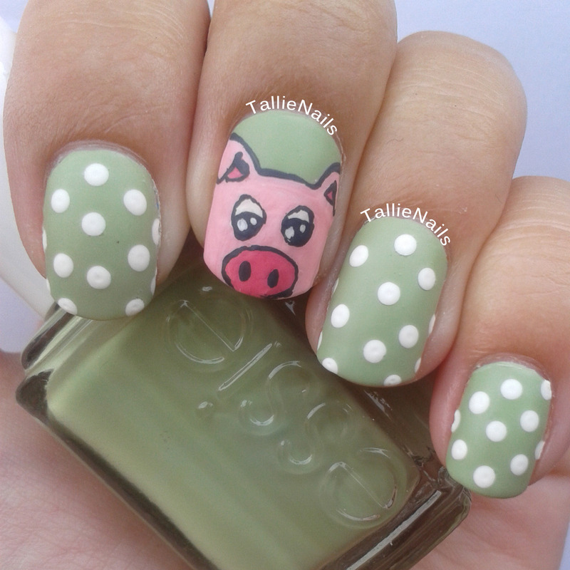 Percy the Pig nail art by Tallie
