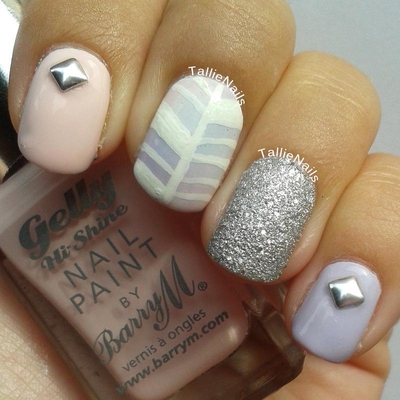Dreamy Herringbone nail art by Tallie