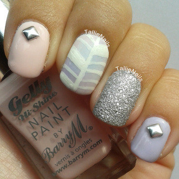 Dreamy Herringbone nail art by Tallie