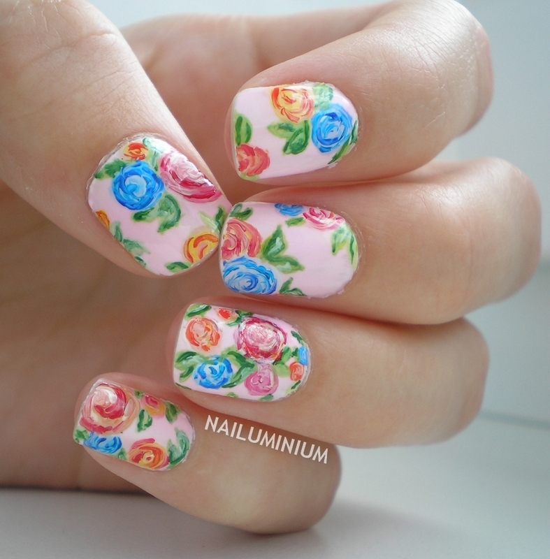 Floral Porcelain nail art by Margee C.