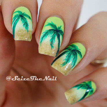 Palms on  the beach nail art by Bella Seizethenail