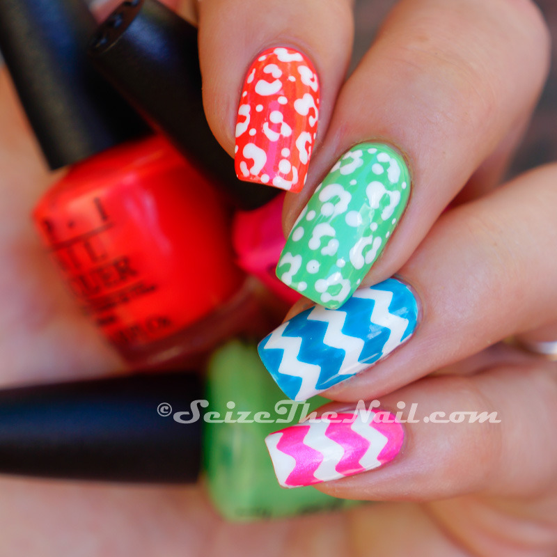 Chevron and animal print on neons nail art by Bella Seizethenail