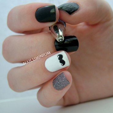 Moustache! nail art by Margee C.
